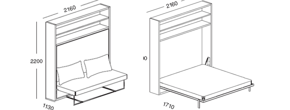 Adam horisontal wall bed unit can be fronted with a sofa for Clei wall bed