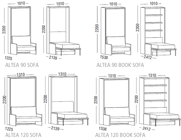 Altea Sofa Single Or Intermediate Wall Bed Optimize Your