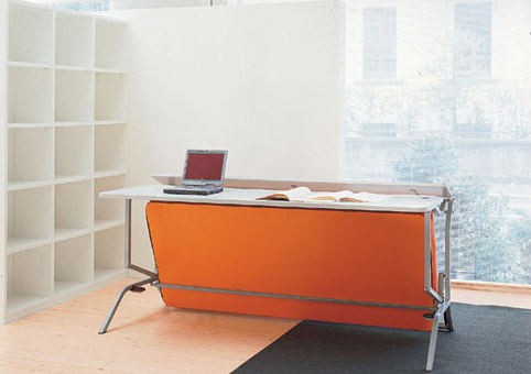 office desk bed. the unit transform into a bed with simple movement and without having to remove any objects from desk office