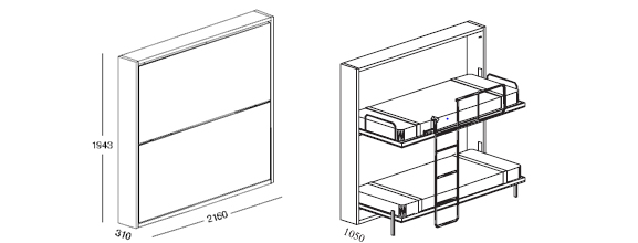 Lollipop Fold Away Wall Bunk Bed System With Or With Out Desk