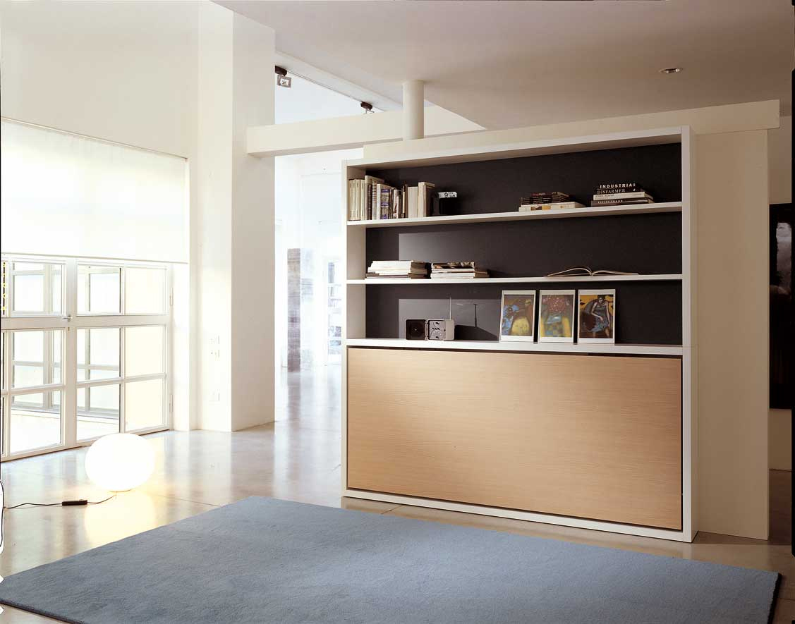 Poppi horisontal fold away wall bed, with desk on request