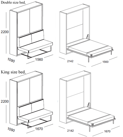 Ulisse Vertical Collapsable Wall Bed System With Sofa